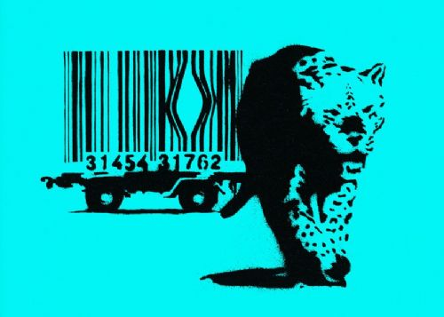 BANKSY - ESCAPE THE BAR CODE - cyan canvas print - self adhesive poster - photo print